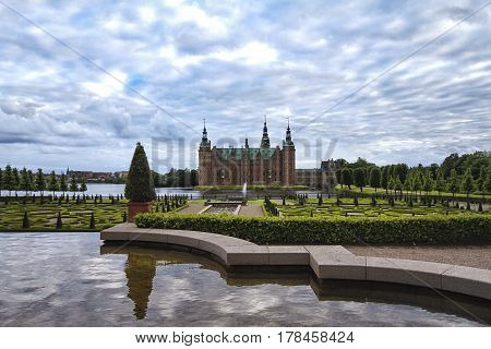 Park and Palace Frederiksborg Slot Hillerod Denmark. Frederiksborg castleor rather Palace located in Denmark.