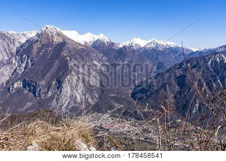 View from Monte San Simeone to Venzone and Julian Alps