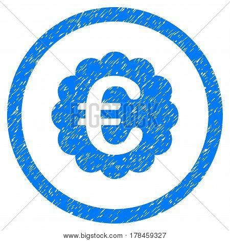 Rounded Euro Quality Seal rubber seal stamp watermark. Icon symbol inside circle with grunge design and dirty texture. Unclean vector blue emblem.