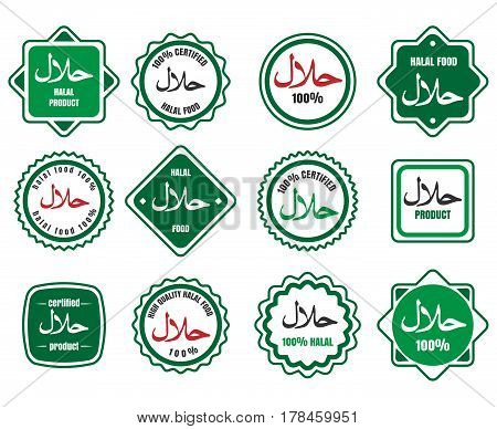 Islamic kosher certified arabic meal emblems. Vector halal signs or islamic food logo icons