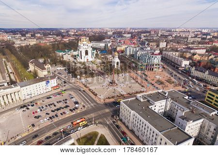 Kaliningrad, Russia - March 26 2017: The congestion of people on Victory Square during the All-Russian rally against corruption of power