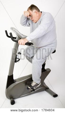 Big Guy  Sweating On The Bike