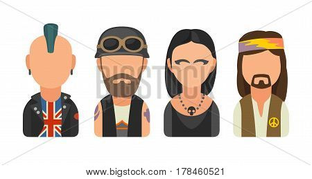 Set icon different subcultures people. Punk, biker, goth, hippy. Vector flat illustration on white background