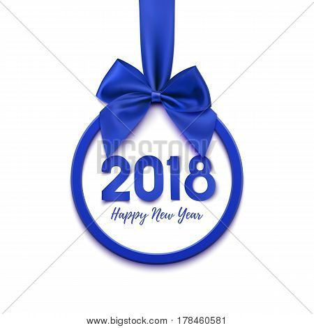 Happy New Year 2018 round banner with purple ribbon and bow, isolated on white background. Christmas tree decoration. Greeting card, brochure, poster or flyer template. template. Vector illustration.