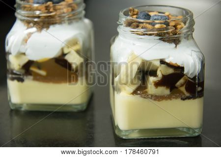 A Banoffee pie in glass cup sweet dessert