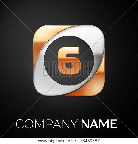 Number six vector logo symbol in the colorful square on black background. Vector template for your design