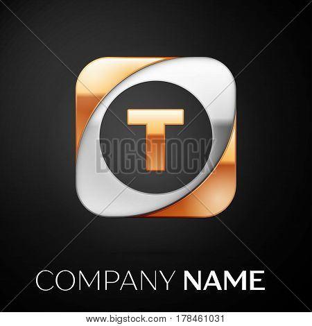Letter T vector logo symbol in the colorful square on black background. Vector template for your design