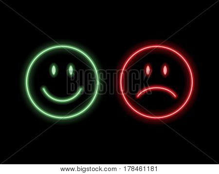 Set of neon smile emoticons isolated on black background. Line icons. Happy and unhappy smileys. Emoji set. Green and red color. Vector illustration