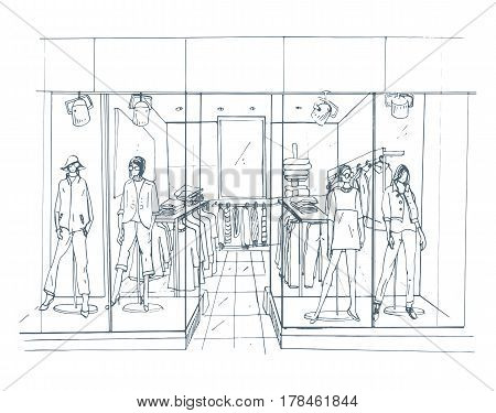 Modern interior boutique, shopping center, mall with clothes, Contour sketch illustration.