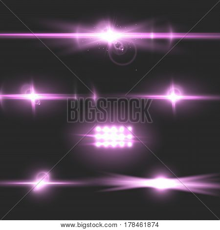 Illustration of Vector Lens Flare Effect. Realistic Camera Lens Flare Set