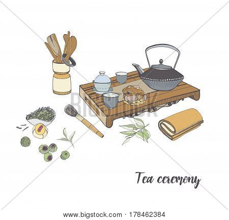 Tea ceremony with various traditional elements, Colorful hand drawn illustration.