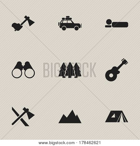Set Of 9 Editable Travel Icons. Includes Symbols Such As Tomahawk, Shelter, Voyage Car And More. Can Be Used For Web, Mobile, UI And Infographic Design.