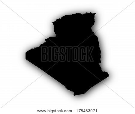 Map Of Algeria With Shadow