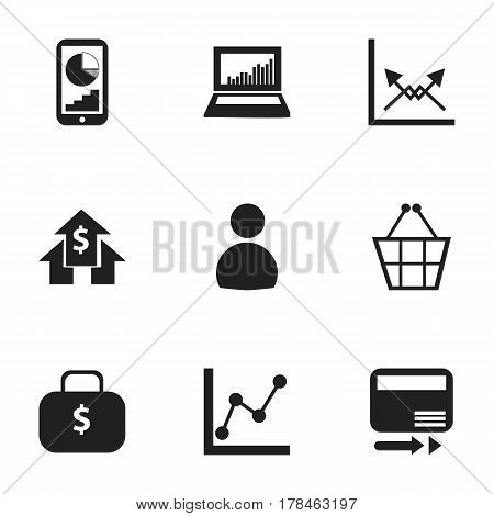 Set Of 9 Editable Analytics Icons. Includes Symbols Such As Graph Information, Phone Statistics, Schema And More. Can Be Used For Web, Mobile, UI And Infographic Design.