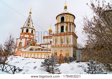 View of the Cathedral of the Epiphany in Irkutsk city Russia