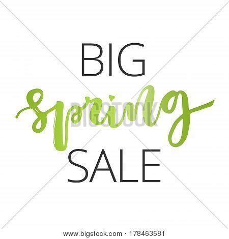 Big spring sale green hand written inscription on white background
