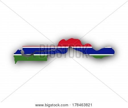 Map And Flag Of The Gambia