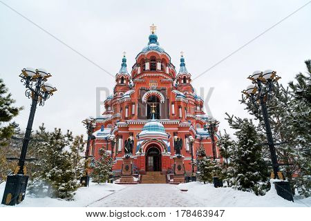 Snow fall at Cathedral of the Kazan Icon of the Mother of God in Irkutsk Russia