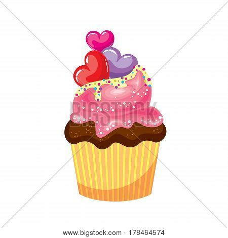 Chocolate cupcake with pink and white cream. Cake with colorful hearts. Vector illustration for a card or poster, print on clothes. St. Valentine's Day.