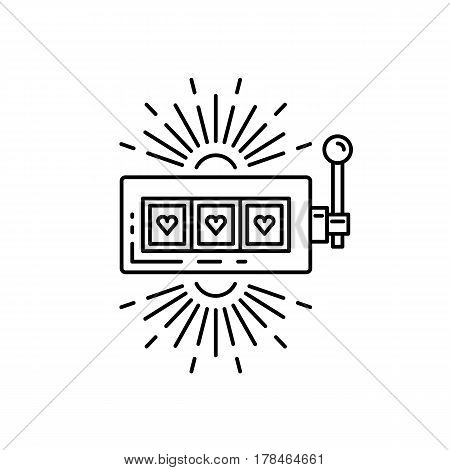 Slot machine, one arm bandit casino drawn in a flat lineal style. Outline icon slot machine where the jackpot falls, isolated on white background