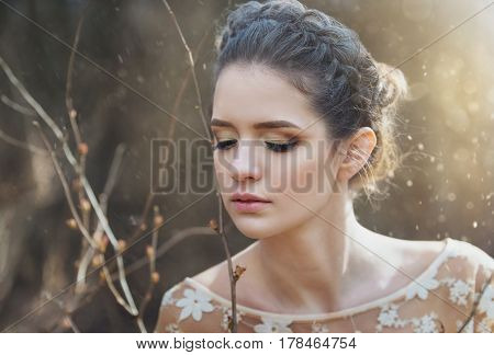 Atmospheric Outdoor Portrait Of Sensual Young Woman Wearing Elegant Dress In A Coniferous Forest Wit