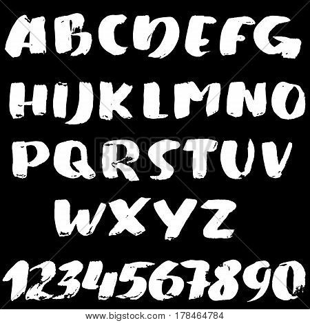 Hand Drawn Font Made By Brush Strokes. Modern Brush Lettering. Grunge Style Bold Alphabet. Vector Il