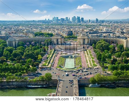 View from the Eiffel Tower of the northwestern part skyline of Paris with part of the River Seine and Trocadero Square on the foreground in spring day