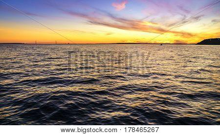 Straits of Mackinac and Mackinac Bridge in Michigan at sunset