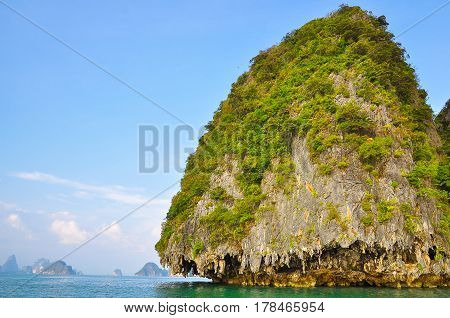 Rocky island covered with plants in the sea.