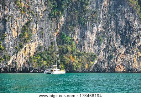 Marine catamaran on a background of a steep rocky shore.