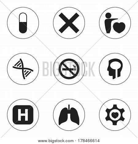 Set Of 9 Editable Hospital Icons. Includes Symbols Such As Clinic, Intelligence, Respiratory Organ And More. Can Be Used For Web, Mobile, UI And Infographic Design.