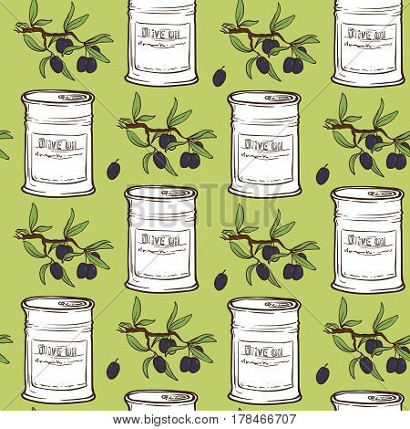Hand Drawn doodle style Olive Oil Seamless Pattern with olive tree branches, olive oil cans and olives. EPS10 vector illustration.