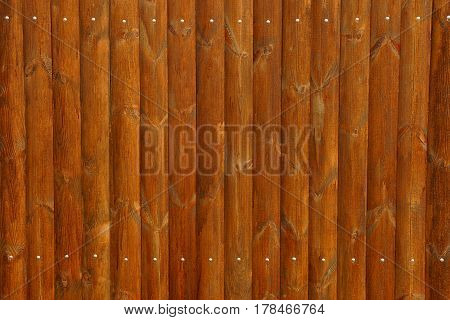 Brown wooden fence texture and iron nails