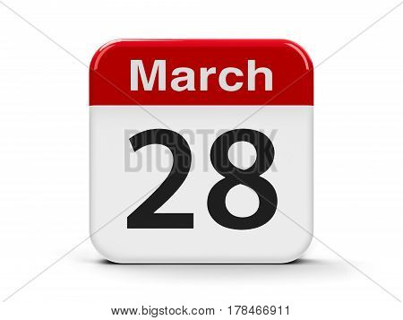 Calendar web button - The Twenty Eighth of March three-dimensional rendering 3D illustration