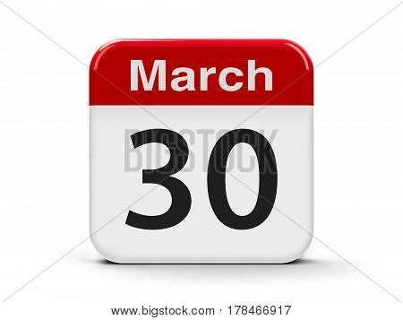 Calendar web button - The Thirtieth of March - National Doctor's Day in USA three-dimensional rendering 3D illustration