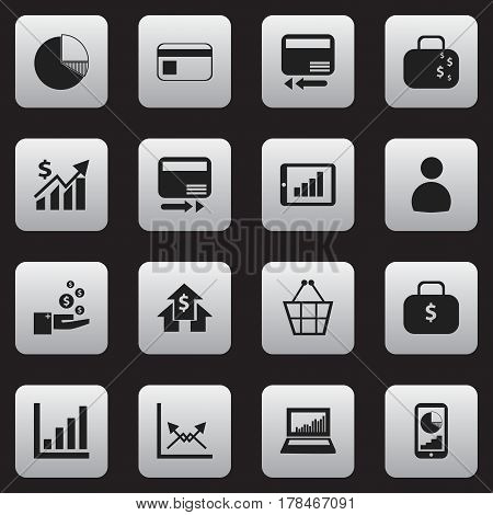 Set Of 16 Editable Statistic Icons. Includes Symbols Such As Phone Statistics, Pay Redeem, Money Bag And More. Can Be Used For Web, Mobile, UI And Infographic Design.