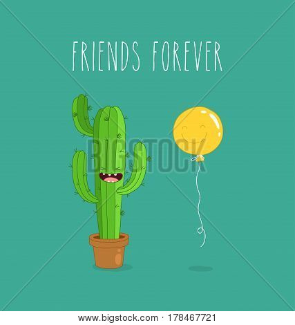 Cactus with baloons are friands funny joke