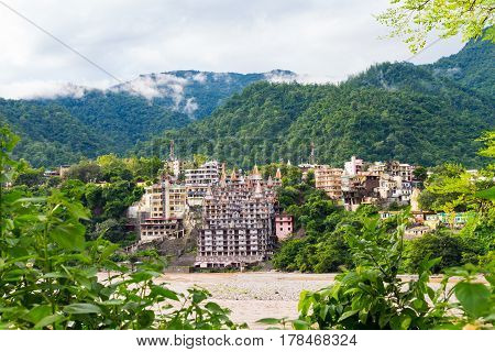 View of The City of Rishikesh and The Holy Ganges River in India
