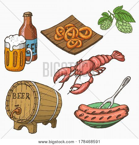 Sketch style set of beer and snacks. Vector illustration.