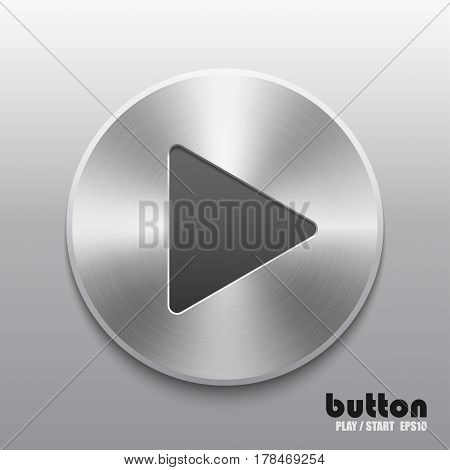 Round play button with brushed metal aluminum texture isolated on gray background