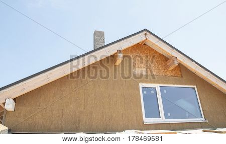 Attic Insulation Outdoor. Roof insulation. Building insulation added to buildings for comfort energy saving and energy efficiency.