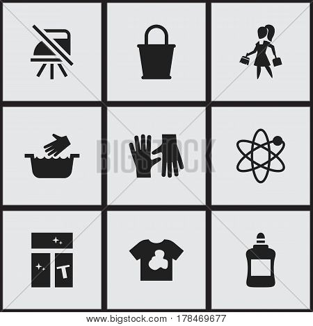 Set Of 9 Editable Hygiene Icons. Includes Symbols Such As Washing Glass, Housework, Unclean Blouse And More. Can Be Used For Web, Mobile, UI And Infographic Design.