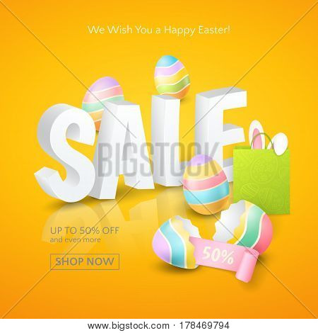 Poster for Easter Sales with 3d text, colored eggs, ribbon, paper shopping bag and and ears of a bunny on the orange background. Vector template for banners and flyers design with discounts offers.