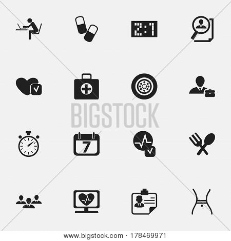 Set Of 16 Editable Complex Icons. Includes Symbols Such As Tire, Date Block, Belly And More. Can Be Used For Web, Mobile, UI And Infographic Design.