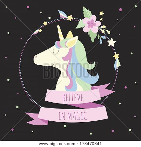 Cute unicorn with flowers stars and inscription