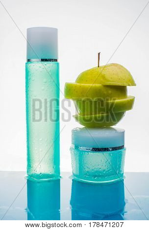 cream with fresh fruits cosmetic water beauty apple splash action