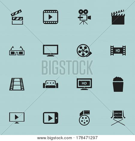 Set Of 16 Editable Movie Icons. Includes Symbols Such As Hd Screen, 3D Vision, Monitor And More. Can Be Used For Web, Mobile, UI And Infographic Design.