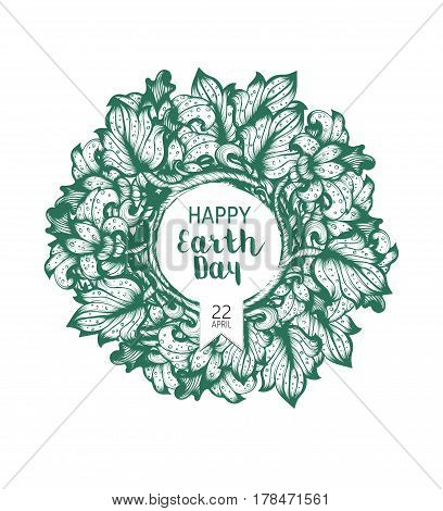 Hand Drawn Earth Day Floral Vector Poster Wirh Flowers And Leaves