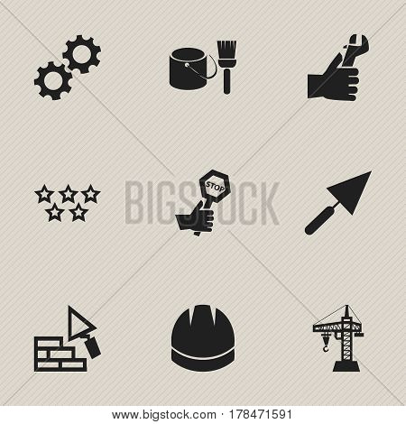 Set Of 9 Editable Construction Icons. Includes Symbols Such As Plastering, Elevator, Hands. Can Be Used For Web, Mobile, UI And Infographic Design.