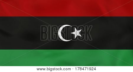 Libya Waving Flag. Libya National Flag Background Texture.